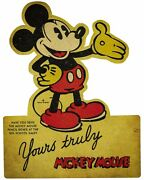 Mickey Mouse Walt Disney Character Heavy Duty Usa Made Metal Advertising Sign