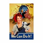 Rosie The Riveter Uncle Sam We Can Do It Wwii 36 Heavy Duty Usa Made Metal Sign