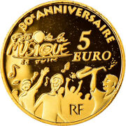 [884920] France Europa 5 Euro 2011 Paris Proof Ms65-70 Gold