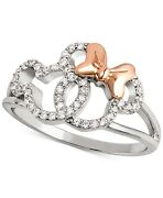 0.10ct White Round Diamond Mickey And Minnie Charm Ring Solid 925 Sterling Silver