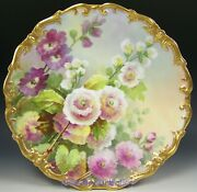 Rare Limoges Hand Painted Hollyhock Raised Gold Signed Dubois Charger Plaque