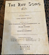 The Riff Song Sheet Music From The Desert Song Operetta / Romberg 1926 A713a