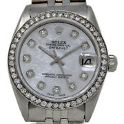 Rolex Oyster Perpetual Datejust 6827 31mm Steel White Mop Diamond 2yearwty 933