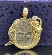 Atocha Silver Coin Pendant In 14kt Solid Gold Mermaid Bezel