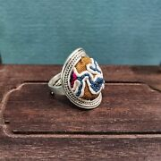 100 Handcrafted Antique Embroidery Women Silver Ring Boho Adjustable Ring 115