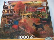David Maclean 1000 Piece Puzzle Fall Sunset On The Farm Ceaco Puzzle W/poster