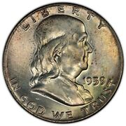 1959 50c Pcgs Ms66fbl T1 / T2 Ddr Fs-801 Franklin Rare Finest Doubled Die