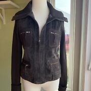 Vintage 70's Brown Suede Leather Sweater Knit Bohemian Festival Zip Up Jacket S