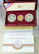 1983-1984 Olympic 3 Coin Uncirculated Set, 2 Silver Dollar And 1 Gold 10 Coin