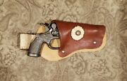 Vintage Us King Mini Toy Cap Gun Western Cowboy 17 - With Leather Holster
