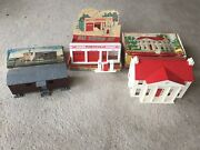 3 Plasticville Boxed Buildings - Colonial Mansion, Gas Station, R.r. Work Car -
