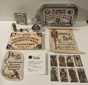 Miniature Mystical Ouija Wooden Board Set W/planchet And 8 Tarot Cards And Tin Clear
