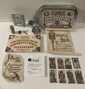 Miniature Mystical Ouija Wooden Board Set W/planchet And 8 Tarot Cards And Box Blue