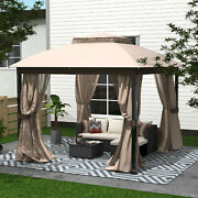 Gazebo With Mosquito Netting Outdoor Gazbeo Canopy 10x10 Double Roof Vented