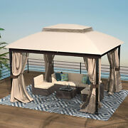 Gazebo With Mosquito Netting Outdoor Gazbeo Canopy 10x12 Double Roof