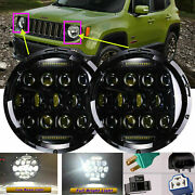 7inch Led Headlight H4-h13 High/low Beam Drl 150w Pair For Jeep Cherokee/compass