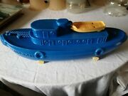 Vintage Marx Toy Tugboat Tug Boat With Wheels Whistles Plastic Pond Boat