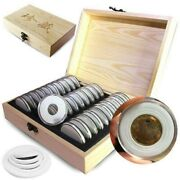 30pcs Coin Capsules Wooden Display Storage Box Case Holder Collectible Supplies