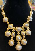 Vintage Kenneth Jay Lane Pearl And Crystal Necklace
