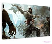 Assassins Creed Black Flag Ship Fight Pc Game Ps4 Canvas Wall Art Picture Print