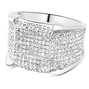 Menand039s 10k White Gold Real Diamond 3d Eternity Pinky 4 Prong Ring 1.50ct