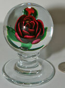 Large Charles Kaziun Pedestaled Red Crimped Rose Paper Weight Nice Look