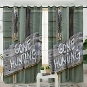 Door Sign Wood Quote Gone Hunting Window Living Room Bedroom Curtains Drapes