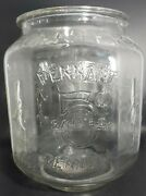 Large Vintage Planters Peanuts Octagon Glass Jar W/o Lid 5andcent Pennant 12x8 Nice