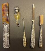 Antique Silver Lot Grooming Perfume Vial/mustache Brush/button Hook/file/comb