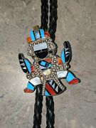 Vintage Zuni Knifewing Inlay Bolo Tie Native American Signed Hand Made