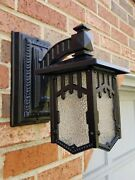 Antique Porch Light Sconce 1920s Arts And Crafts Mission Herwig Rare Cast Iron.