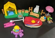 Fisher Price Little People Camping Lot Tent Beach Moving Boat Water Ski Figures