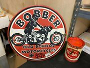 Bobber Old School Motorcycles Heavy Porcelain Sign, 11.5 Inch Great Sign