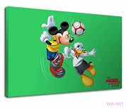 Mickey Mouse And Donald Duck Sports Football Game Canvas Wall Art Picture Print