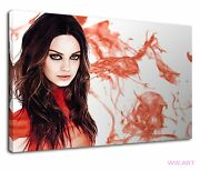 Mila Kunis Red Dress With Glowing Brown Eyes Canvas Wall Art Picture Print