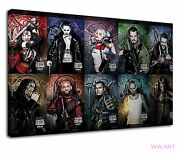 Suicide Squad Cast Characters Digital Illustration Canvas Wall Art Picture Print