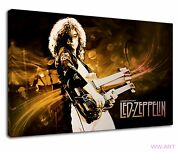 Led Zeppelin Playing Double Neck Gibson Guitar Canvas Wall Art Picture Print