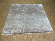 10 X 10 Square Hand Knotted Gray Modern Tibetan Oriental Rug With Silk G9223
