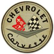 Chevrolet Corvette 2 Flags 14 Round Heavy Duty Usa Made Metal Advertising Sign