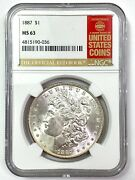 1887 Morgan Silver Dollar - Ngc Ms63 - The Official Red Book Label