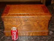 Antique Great Smaller Size Quartered Oak Tool Chest Box----15610