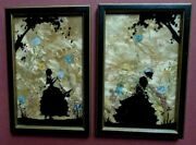 Silhouette Pictures, Hand Painted Ladies And Trees. Wild Flowers, 6x4, 1940s