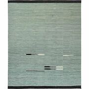 12and0396x15and039 Light Green Hand Woven Flat Weave Kilim Wool Reversible Rug G60034