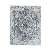 5and0393x7and039 Wool And Pure Silk Grey Broken Farsian Design Hand Knotted Rug G62068