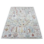4and0392x6 Hand Knotted Ivory Angora Oushak With Willow Tree Wool Rug G67076
