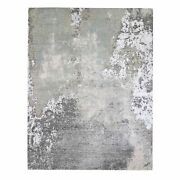 8and039x10and0394 Farsian Knot With Abstract Design Woolsilk Hand Knotted Rug G66409