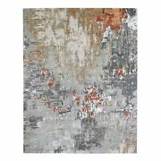 8and039x10and0393 Gray Farsian Knot With Abstract Design Silk Hand Knotted Rug G66411
