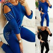 Women's Off-the-shoulder Sleeved Beaded Tops+pants Casual Suits Tracksuits Sets