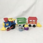 Vtg 1991 Fisher Price Little People Chunky 3 Car Circus Train Set W/ 2 People