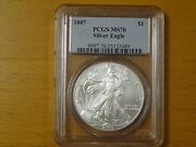 2007 American Silver Eagle Pcgs Ms 70 Rare Low Pop Of 1091 Free Lucky Pouch